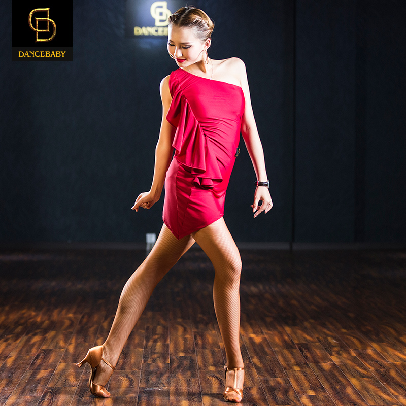 Picture of 2016 Woman New Black/Red Elastic Dance Dress For Rumba/Samba/Latin/Salsa Dance Practice/Performance/Show Dress