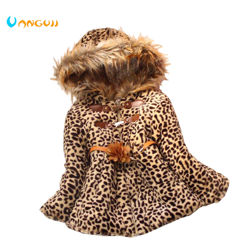 2018 girls winter coat children outwear leopard faux fur coat autumn jackets for girls clothes baby thick fleece warm clothing