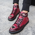 Fashion Men's Boots 2016 New Brand Casual Mens Ankle Boot Shoes High Top Rivets Leather Spring Boots for Men Flat Buckle shoes
