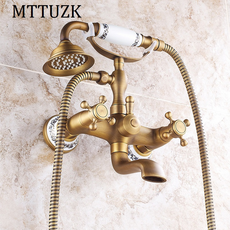 handheld Shower With Porcelain Set Good Reputation Over The World Home Improvement Constructive Mttuzk Antique Brass Rainfall Shower Set Wall Mounted Double Handle Bathtub Faucet Shower Faucets