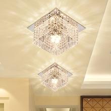 Современный светодиодный потолочный светильник из хрустального стекла для прихожей, гостиной, фойе, потолочный светильник/Встраиваемая лампа 3 Вт, 5 Вт, потолочный светильник dia100мм