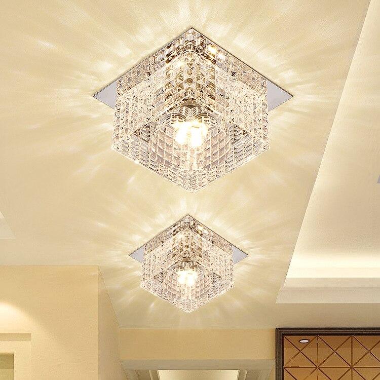 Современные хрустальные Стекло светодиодный потолочный светильник прихожая Гостиная фойе потолке/встраиваемые лампы 3 Вт 5 Вт Dia100mm потолок...