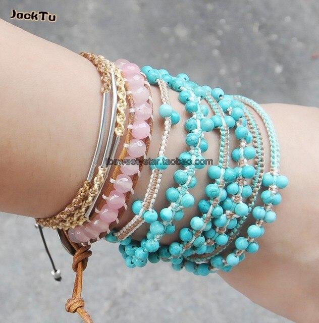 2013  handmade wholesale turquosie cotton cord 6 wrap bracelet women