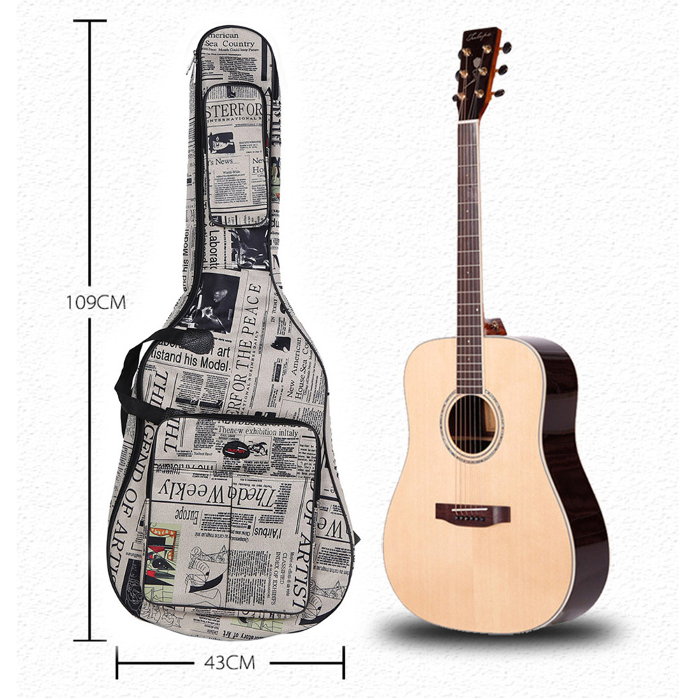 40/41 Inch Guitar Case For Guitar Thick Sponge Waterproof Guitar Bag Newspaper Style with Straps Carry Bag for Guitar