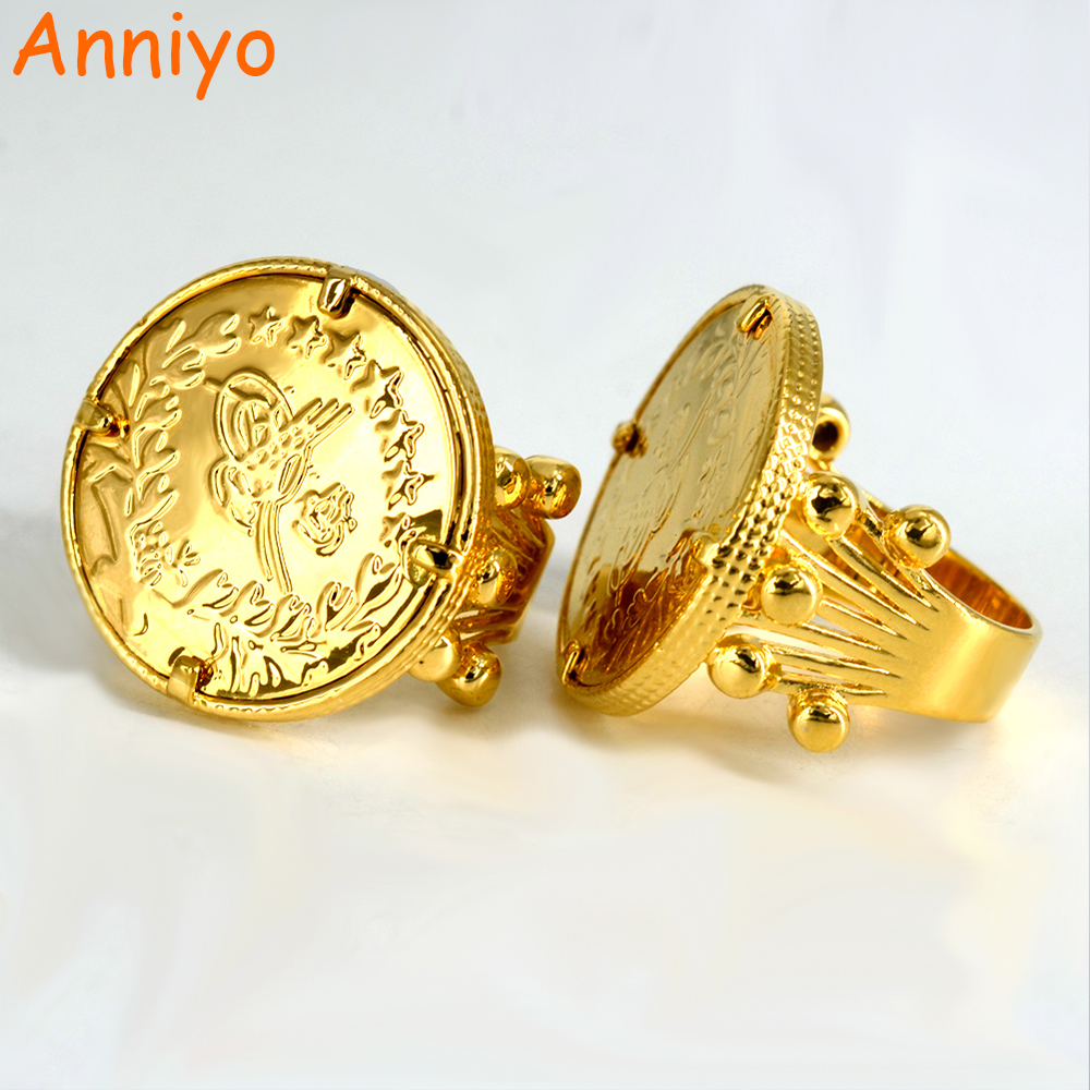 Well-known Anniyo New Turkish Coin Ring Gold Color and Copper Metal Ring for  EG57