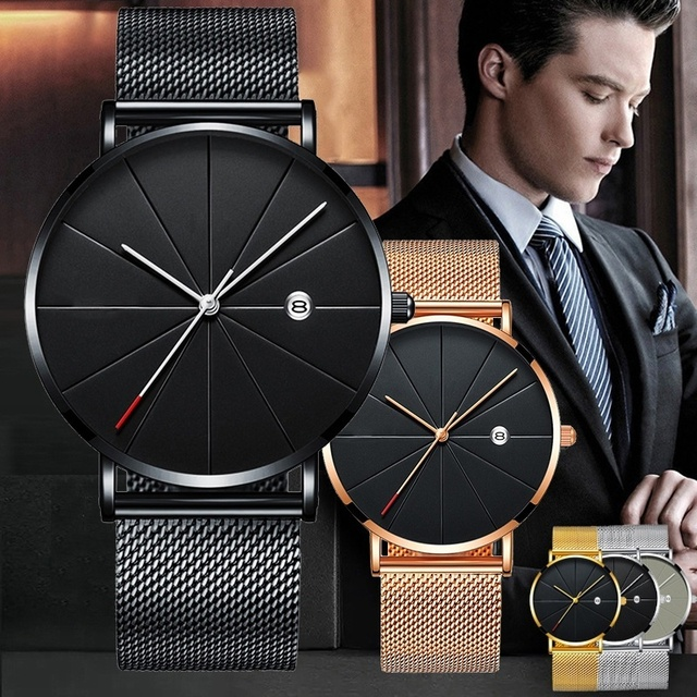 Sports Mens Watches Business Leisure Quartz WristWatch Stainless Steel Mesh Strap Ultra Thin Dial Date Clock Relogio Masculino