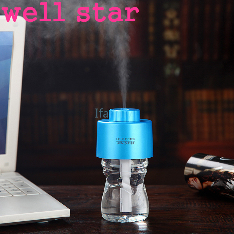 2016 With Bottle With Light Usb Water Cap Humidifier Office Air Diffuser Aroma Mist Maker +2pcs Absorbent Filter Sticks For 5v mymei room office usb mini water bottle caps humidifier aroma air diffuser mist maker