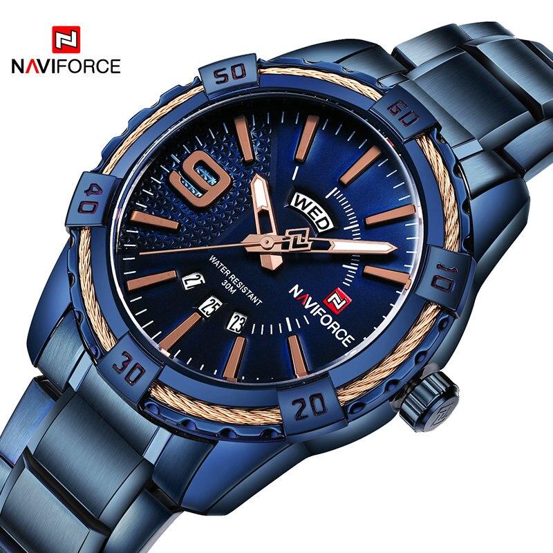 2018 NAVIFORCE Brand New Men Sport Watches Men's Waterproof Analog Quartz Wristwatches Man Gold Stainless Steel Calendar Clock