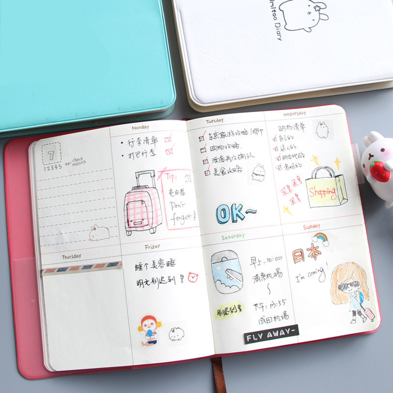 Year 2018-2019 Cute Diary Any Year Planner Pocket Journal Kawaii Notebook Agenda Scheduler Memo 4 Colors Korean WJ-XXWJ215- little secret planner agenda notebook luxury hard cover any year planner journal cute school study scheduler