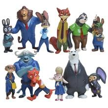 12pcs/set 4-8cm Zootopia toys Action Figure Doll Toy PVC Zootopia Figure Toys Rabbit Judy Cop Fox Nick Cartoon Brinquedos