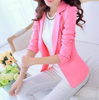 2018 New Long Sleeve One Button Formal Blazer Women Blazers And Jackets Business Office Suits Bleiser Feminino Candy Color Coat
