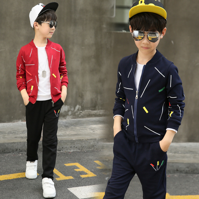 autumn jackets teenage boys clothing set printing red black blue sports suit for boy long sleeve tops coats & pants 2 pcs sets