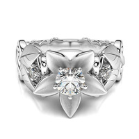 Fashion Silver Carved Leaf Wedding Party Ring For Women Bridal CZ Crystal Flower Rings Gift Drop Shipping Jewelry 3