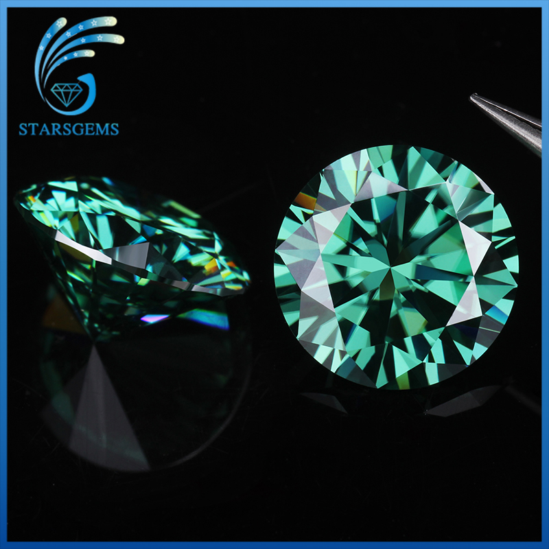 5.5mm 0.6 carat VVS1 Excellent Cut Grade Test Positive Round Cut Green Moissanite Loose Stones for Jewelry making