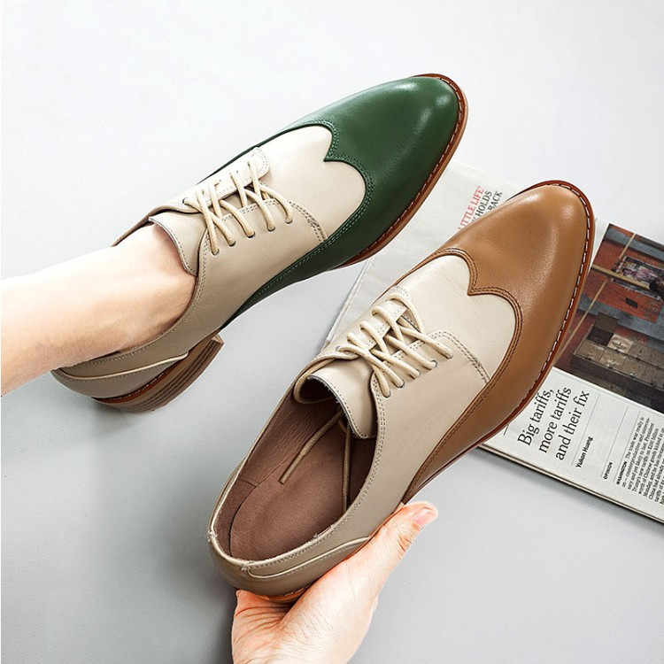 6a8ee25286d0e PXELENA Genuine Real Leather Oxfords Shoes Women 2019 Spring Brand ...