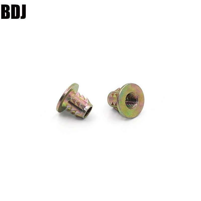 20Pcs M4 M5 M6 M8 flange head Zinc Alloy Thread For Wood Insert Spiked Nut Furniture Link Nuts M4*10MM M5*10MM M6*10MM M8*13 MM