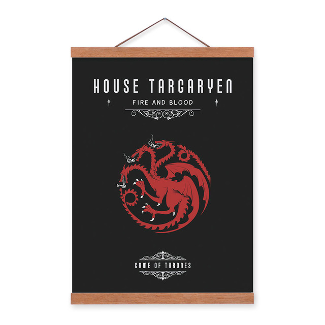 Game Of Thrones House Wooden Framed Canvas Painting Living Room Home Decor Wall Art Print Picture Poster Scroll