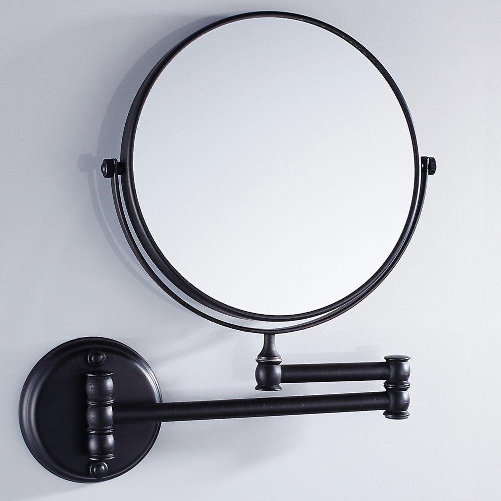 Pouces En Laiton Salle De Bains Vanité Miroir pliant Mural Pliant Maquillage Double Côté Grossissement Miroir Antique Style Noir