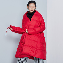 BC028 New Arrival Winter 2017 Fashion women coat A Line cloak loose long robe white duck down jacket