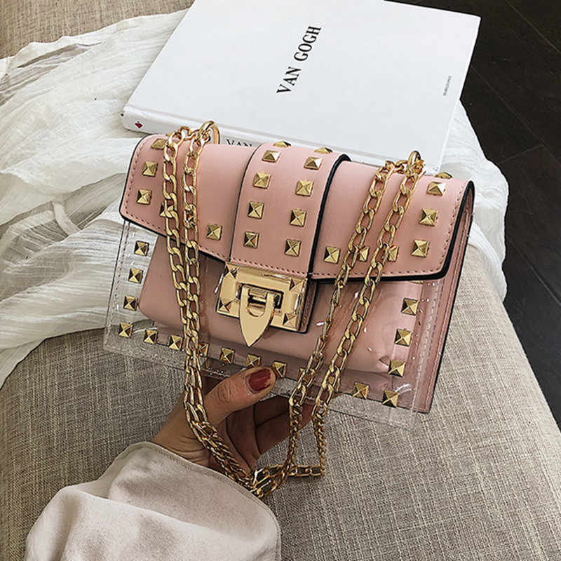 2019 Summer Small clear Designer Women New Fashion Messenger Bag Chain Shoulder Bag Female Rivets Transparent Square PU Handbag