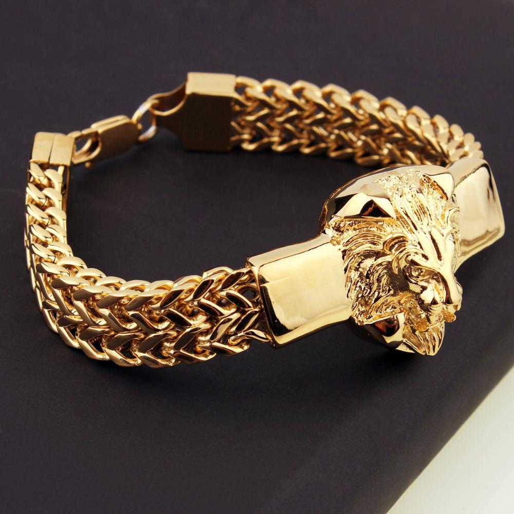 Punk Jewelry Figaro Chain Mens Bracelet Stainless Steel Silver Color/Gold Color Lion Head Bracelet Mens Cuff Bracelet 8.66 inch