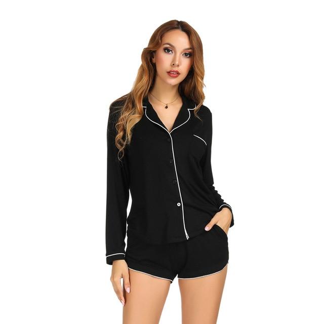 Long Sleeve Pajamas with Shorts Set Cotton Pajamas Set Turn down Collar Night Shirt Casual Home Clothing Sleepwear White Black
