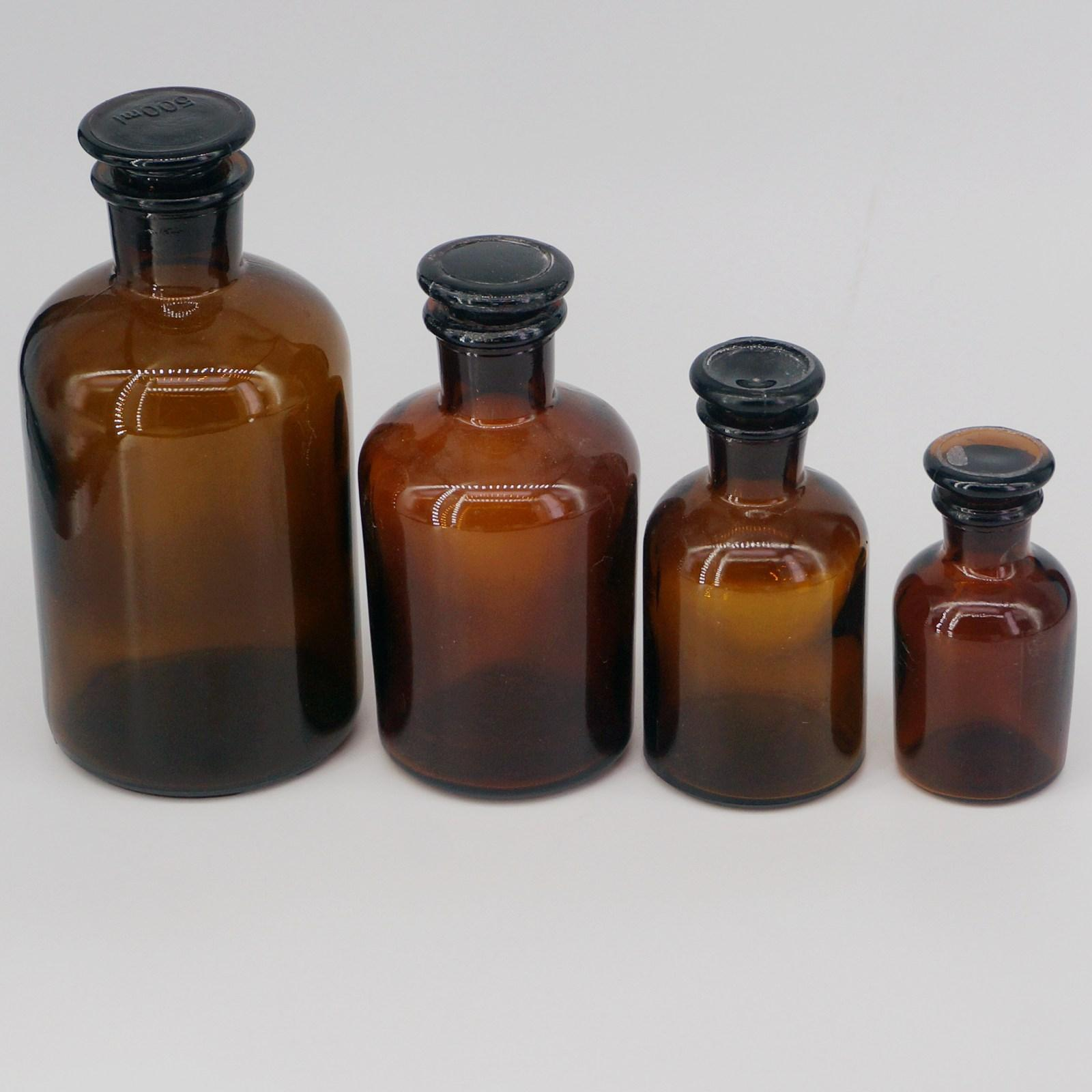 60ml 125ml 250ml 500ml 1000ml 2500ml Brown Glass Narrow Mouth Bottle With Stooper Lab Chemistry Glassware