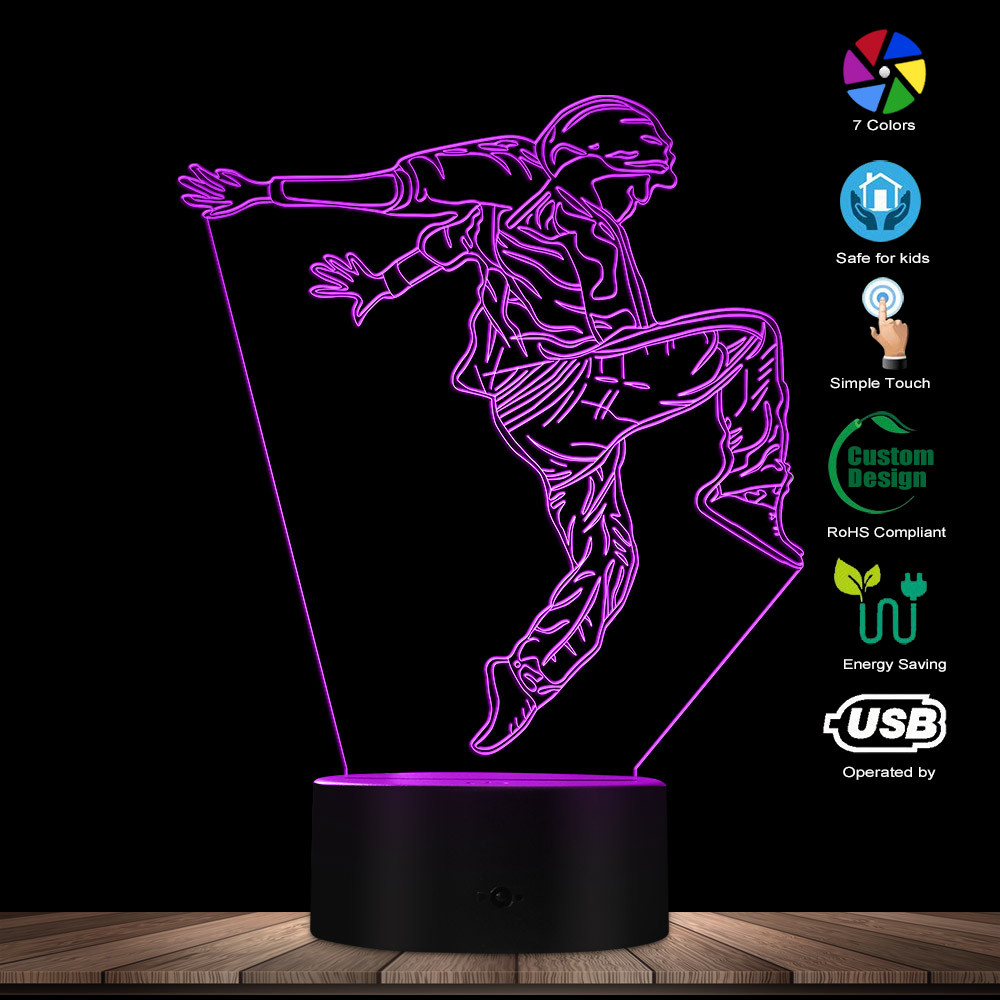 Hip Hop Dancer LED Night Lights Modern Dancer Street Dancer Dance Studio Table Lamp Decorative Lighting Decor Gift For Dancers