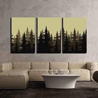 3 Piece Canvas Wall Art Seamless Background Landscape Night Forest with Fir Trees Silhouettes Vector Modern Home Decor No Framed