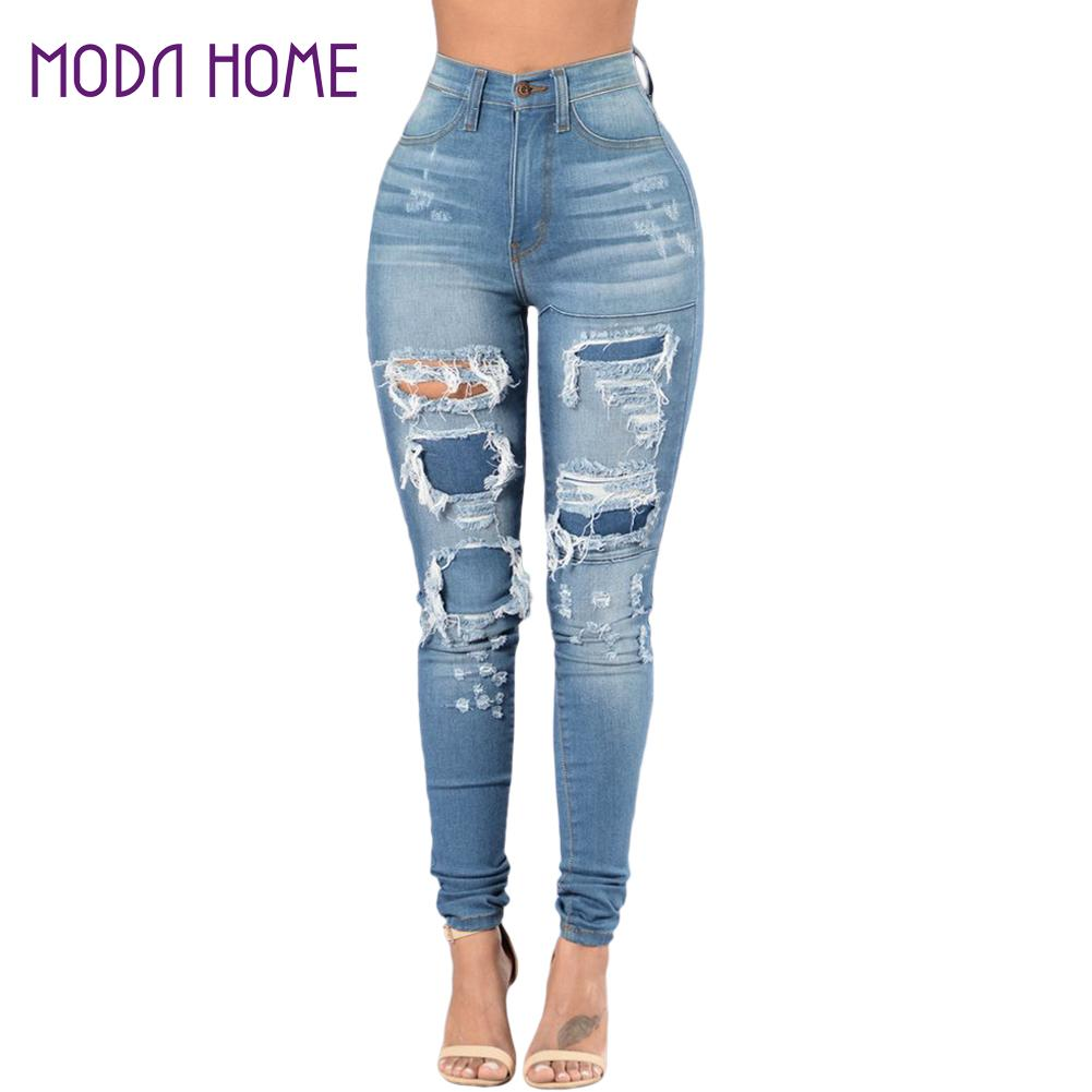 2018 frauen Jeans druck große größe gewaschen jeans Breite Bein Jeans Lose Denim Overalls Gewaschen Print Zerrissene Loch Overalls