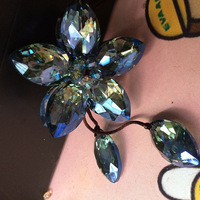 DIY Car Flower Pendant High-grade Automotive Rearview Mirror Hanging Ornaments Pear Shape Green Crystal Car Accessories