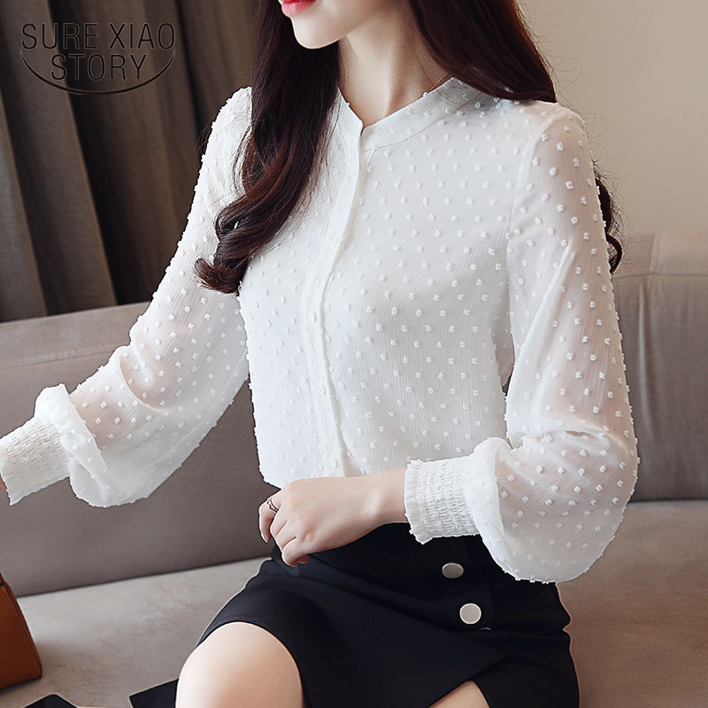 2019 New arrived women shirt sweet  female V collar wave point long-sleeved suntan  women blouse Korean style OL blusa 0974  30 Платье
