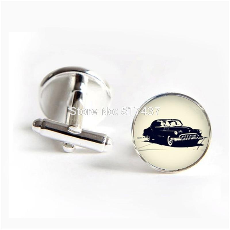 2018 New Fashion Old Car Cufflinks Bubble Car Cuff link Old Car Cufflink Silver Black Round Cufflinks