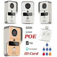 אלחוטי SD כרטיס וידאו הקלטת וידאו דלת טלפון + RFID Keyfobs IP דלת פעמון POE מצלמה עבור ONVIF להתחבר NVR