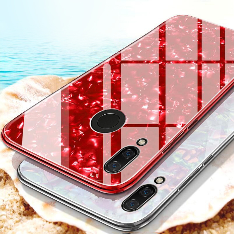 For Huawei P Smart Plus Nova 3 3i Case Tempered Glass Conch Shell Cover For Hawei Honor 8X Max 7X 7A 7C Pro 9 Lite Note 10 Case