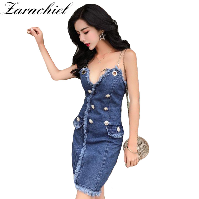 Brand Clothing Sexy Metal Chain Strap Jean Dress 2019 Summer Deep V Neck  Backless Lion Buttons a42179beb