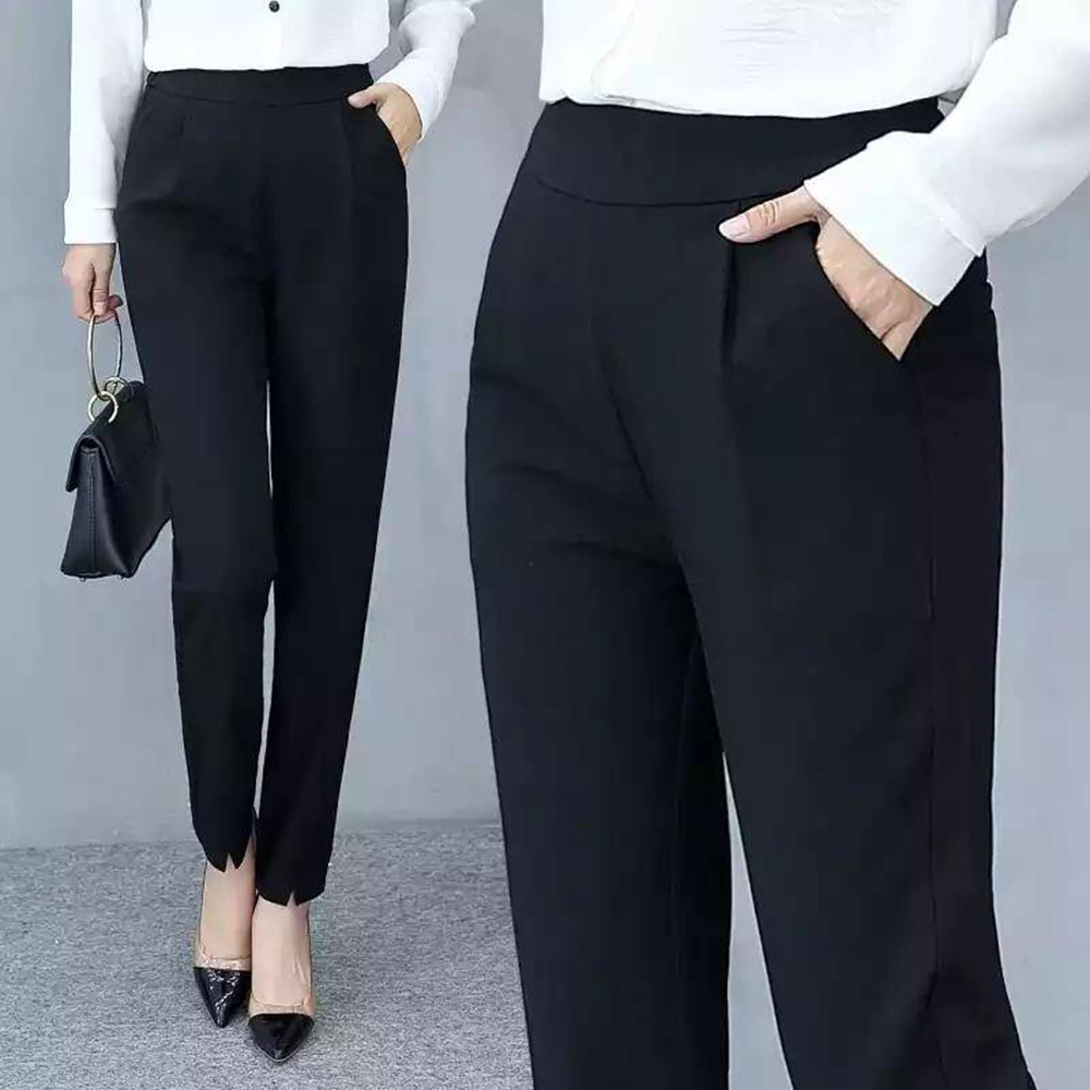 Women's Pants Casual Fashion Solid Mid Elastic Waist Long Trousers Office Plus Size Women Joggers Sweat Skinny Pencil Pant Black 7