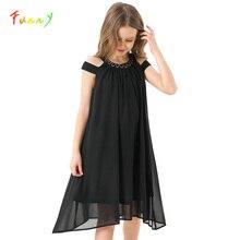 طفل فتاة فساتين الصيف الأسود الشيفون زلة فستان الأطفال ملابس الشاطئ الفتيات فستان حفلات غير رسمي الاطفال الملابس 8 10 12 14 سنوات