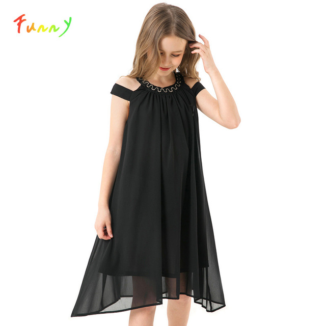 Toddler Girl Dresses Summer Black Chiffon Slip Dress Children Beach Wear Casual Girls Party Dress Kids Clothes 8 10 12 14 Years