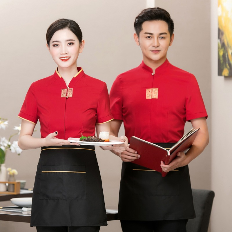 Hotel Workwear Summer Women Restaurant Coat Uniform Short Sleeve Waitress Of Chafing Dish Canteen Breathable Men Jacket H2118