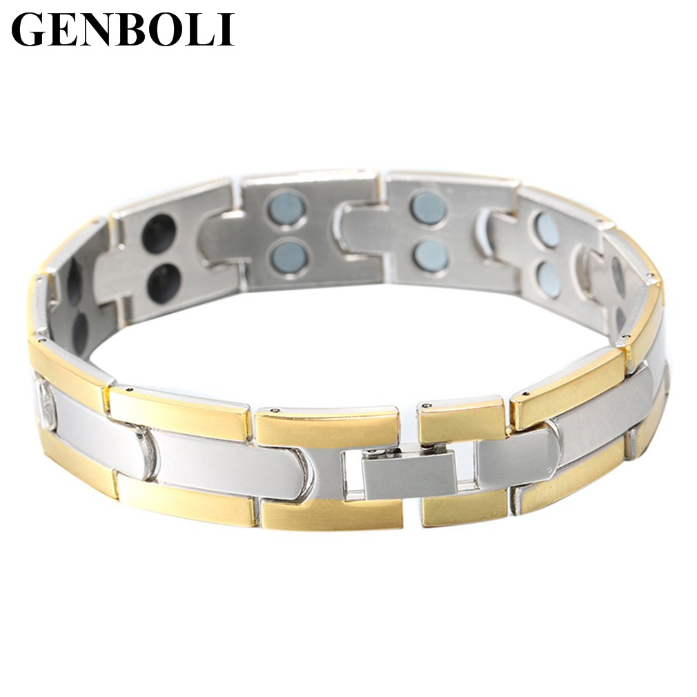 GENBOLI Minimalist Style Titanium Steel Bracelet Health Care Men Jewelry Magnetic Silver Color Charm Bracelets Fashion Jewelry