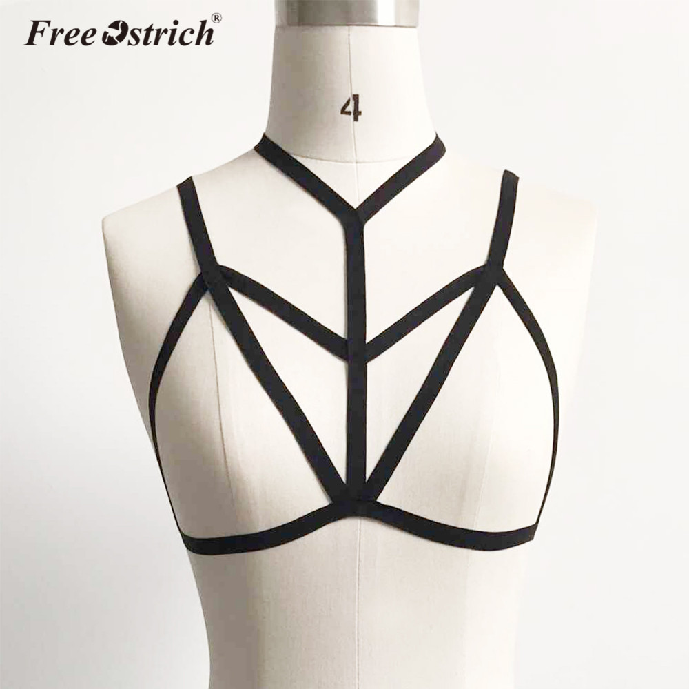 Free Ostrich Bra Straps Backless Sexy Harness Underwear Bra Garters Elastic Cage Bra Strappy Hollow Out Bustier Crop Top B1140