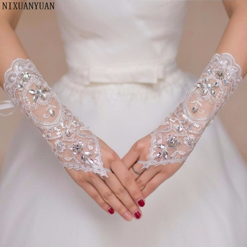 NIXUANYUAN Fingerless Wedding Gloves For Bride With Beaded Crystal Lace Bridal Gloves Guanti Donna In Pizzo