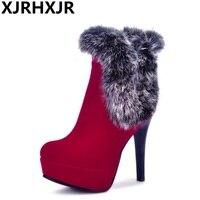 XJRHXJR Boots Women Ankle Boots Winter Platform Boots High Heels Rabbit Fur Ladies Sexy Thin Heel Handmade Shoes Black Red