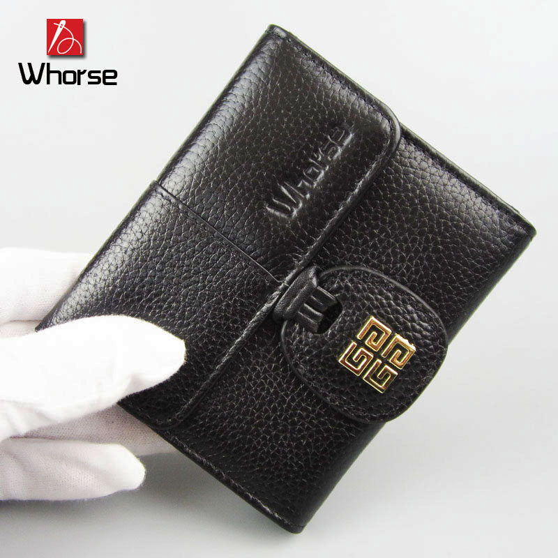 [WHORSE] Brand Logo New Fashion Women Wallets Short High-quality Genuine Leather Wallet For Women Cowhide Purse With Coin Pocket 2016 new brand short women s wallet high quality guarantee designer s high heeled shoes hasp purse for lady free shipping