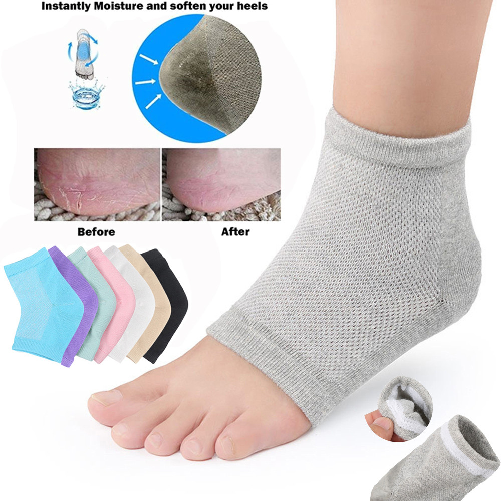 2Pcs Silicone Cotton Moisturizing Gel Reduces Heel Toe-less Socks Cracked Foot Skin Care Protectors Kit Comfortables For Unisex