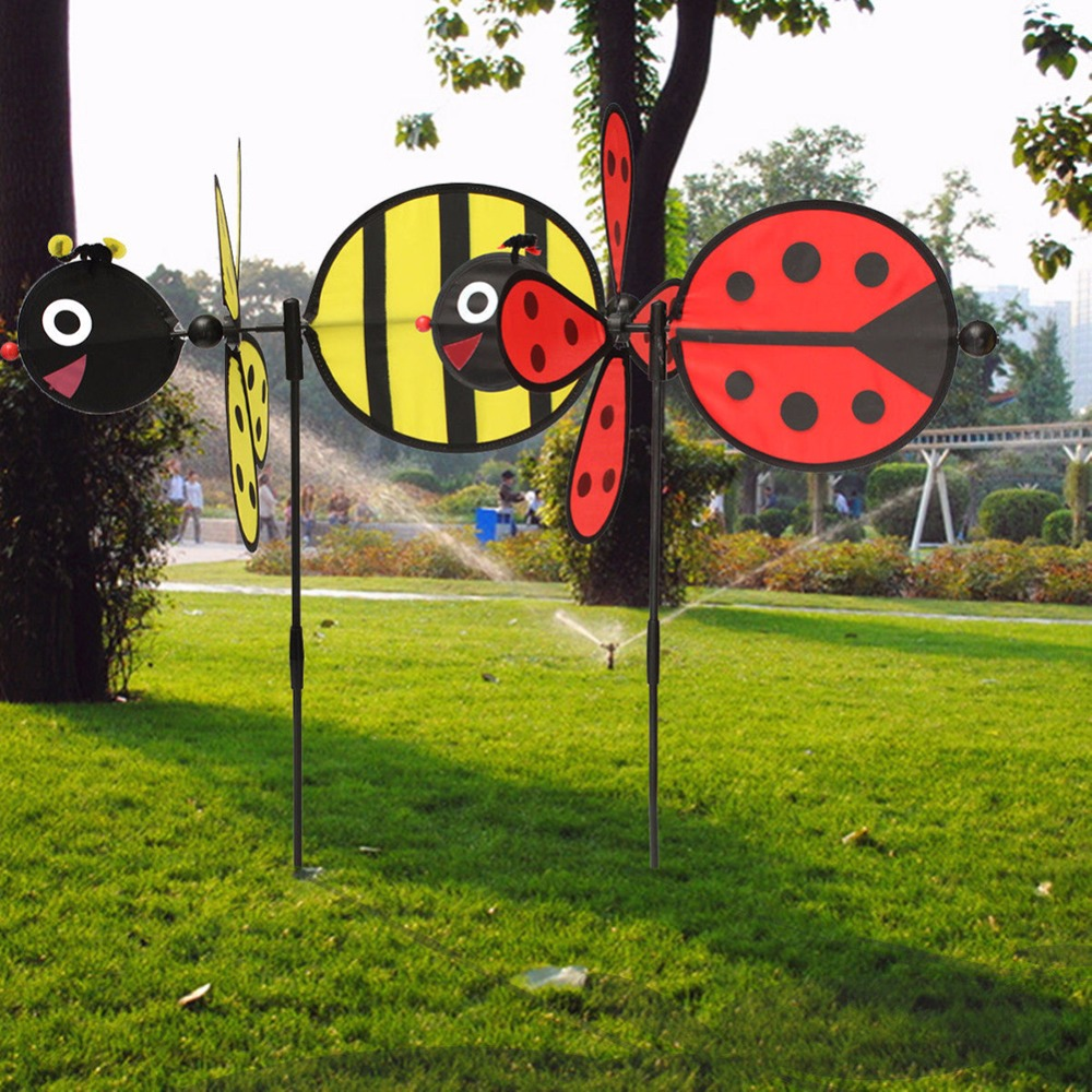 Bumble cloth bee ladybug windmill whirligig wind spinner for Bee decorations for the home