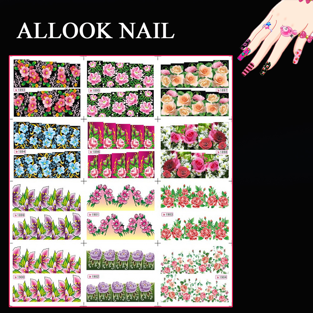 Book Cover Nail Art : Sheets lot art nail sy full cover flower