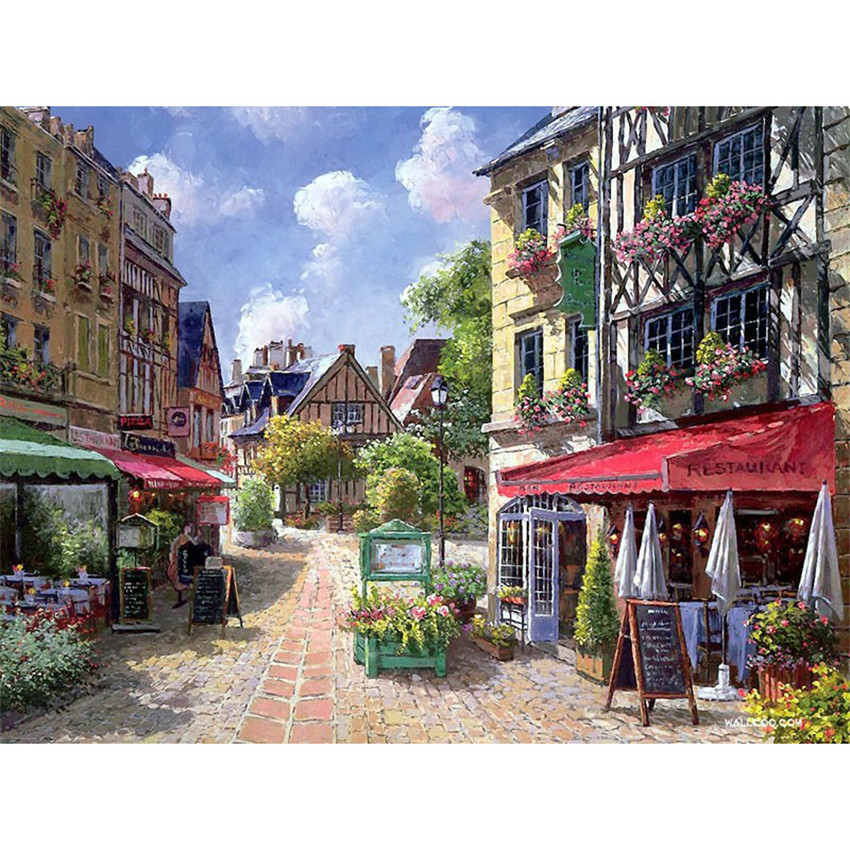 DIY Digital Painting By Numbers Package Small town street oil painting mural Kits Coloring Wall Art Picture Gift frameless image