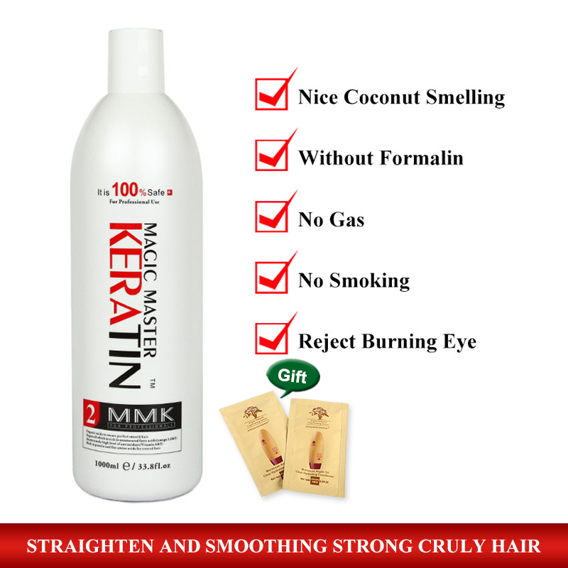 High Quality 1000ml Magic Master Fresh Smelling Brazilian Keratin Without Formalin Hair Treatment Damage Hair Free